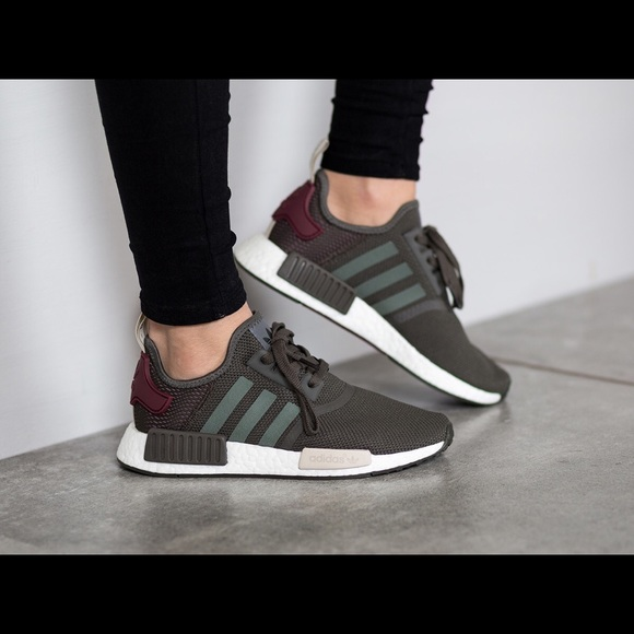 23dc9d9c2eb9f adidas Shoes - Adidas NMD R1 Shoes Utility Grey Green Maroon 8.5